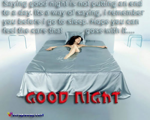 Saying Good Night Is Not Putting an End to a day ~ Good Night Quote