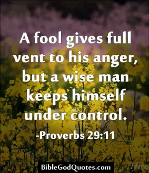 ... To His Anger, But A Wise Man Keeps Himself Under Control - Bible Quote