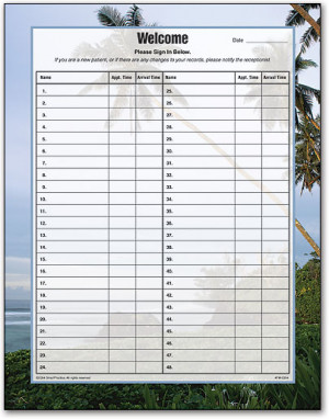 Tropical Patient Sign In Form by SmartPractice