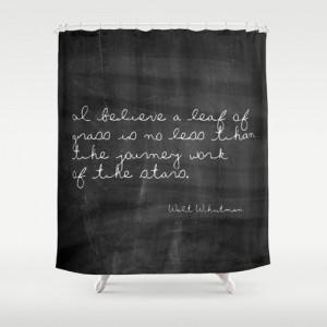 Shower Curtain - Leaf of Grass - Walt Whitman Quote - Woodland Decor ...