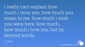 cant explain how much i miss you. how much you mean to me. how much ...