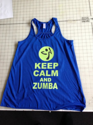 Keep Calm and Zumba Gym Tank Top Flowy Racerback Workout Custom Colors ...