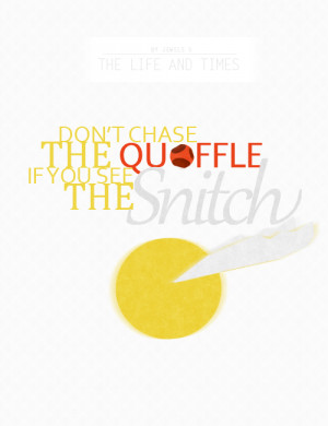 Don t chase the quaffle if you see the snitch is a quote