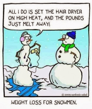 Funny snowman cartoon joke picture - All I do is set the hair dryer on ...