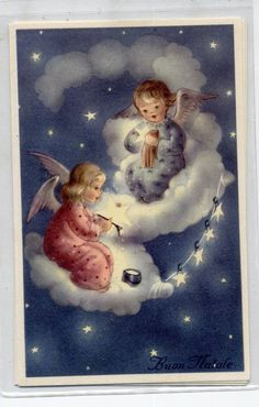 Cute Angels painting Stars in the Sky Xmas Vintage PC Circa 1940 Italy