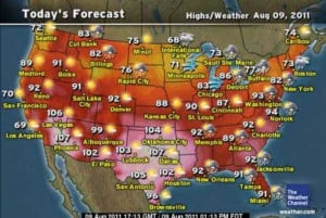 ... : US heatwave August 2011, excessive heat warnings for 12 states