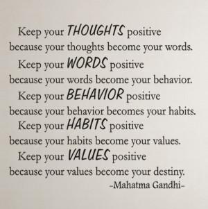 Mahatma Gandhi Keep your...Inspirational Wall Decal Quotes