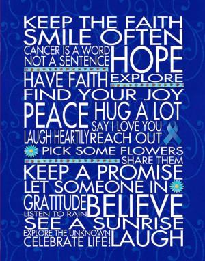 ... Faith Colon Cancer - 11x14 - WORD ART PRINTS - Motivational Hope