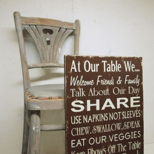 Table Manners Family Rules Kitchen Rules in Chocolate Brown and Cream ...