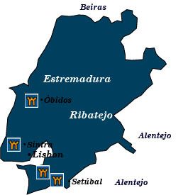 Map Portugal Showing Obidos