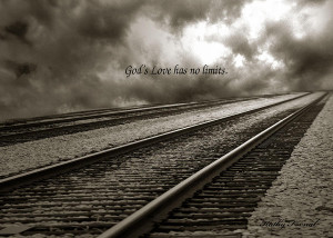 Railroad Tracks Storm Clouds Inspirational Message Photograph