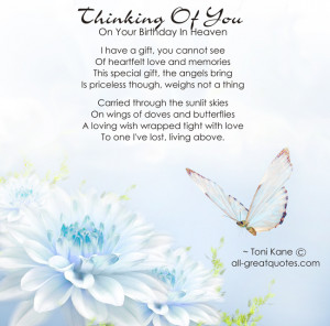 Birthdays In Heaven – Thinking Of You On Your Birthday In Heaven