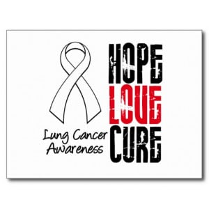 Lung Cancer Cancer Hope Love Cure Ribbon Postcards