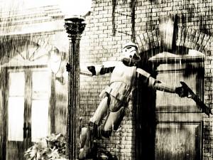 Star Wars Funny Wallpaper-Stormtrooper singing in the rain.