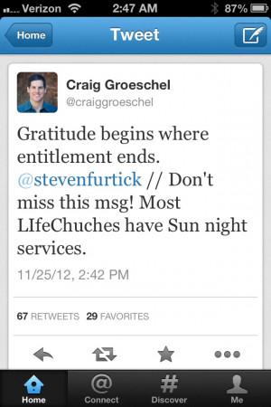Gratitude vs entitlement.