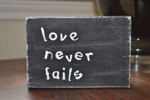 325 Subway Art Wood Quote Block Love Never Fails by LAARC, $8.00
