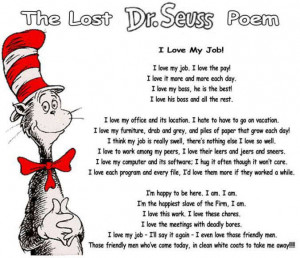 ... love my job cat in the hat funny office poem and work comedy pic to