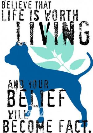 Pit Bull Art Print, Pitbull Picture, Wall Decor Inspirational Quote ...