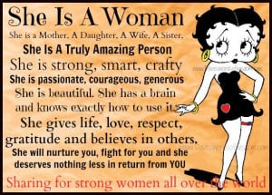 she is a woman sharing for strong women all over the world