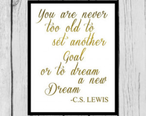Inspirational Quote Wall Art/Gold F oil Tomography/C.S. Lewis Quote ...