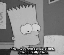 bart, black and white, quote, sad, the simpsons