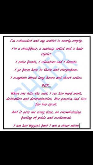 Cheer mom quote, can't wait to see all the work that she will be ...