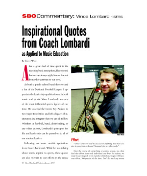 Inspirational Quotes from Coach Lombardi as Applied to Music Education