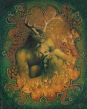 Beltane Reunion - Pagan God and Goddess Art 8x10 print