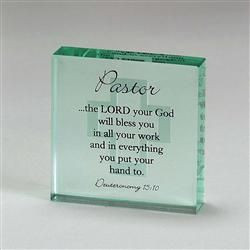 Pastor Glass Plaque