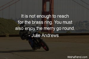 ... to reach for the brass ring. You must also enjoy the merry go round