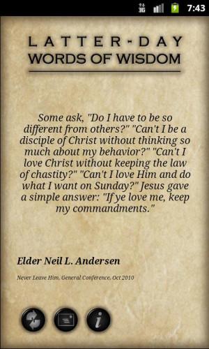 LDS Words of Wisdom - screenshot