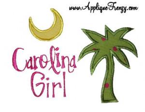 Carolina Girl Machine Embroidery Applique Design 347
