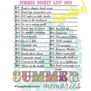 Teenage Girl Summer Bucket