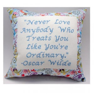 ... Stitch Pillow, Inspirational Quote, Blue Pillow, Oscar Wilde Quote
