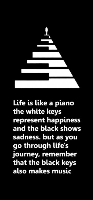 Life is like a piano. The white keys represent happiness and the black ...