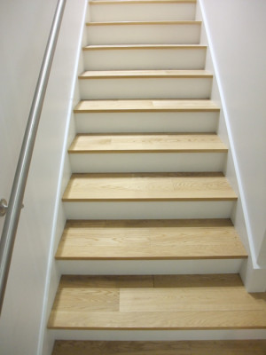 White Oak On Stairs with Painted Risers