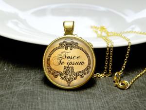 ... Thyself Quote Nosce Te Ipsum Quote Necklace Self Love Jewelry Gift