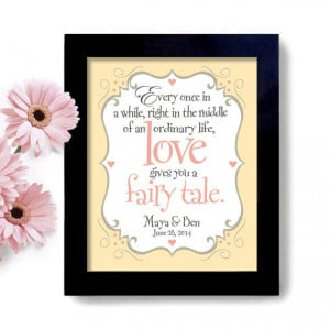 Fairy Tale Wedding Quote - Art Print - Unique Engagement or Bridal ...