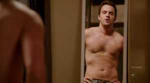 Jake Johnson is shirtless in the episode