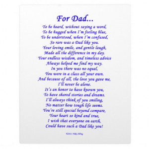 For Dad Memorial Poem Photo Plaques