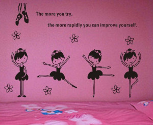 Dancing Ballet Girl Wall Decal Sticker Words Wall Quote for Children ...