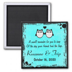 Neon teal blue owl rhyme save the date magnet