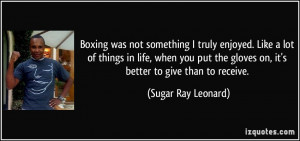 Boxing was not something I truly enjoyed. Like a lot of things in life ...