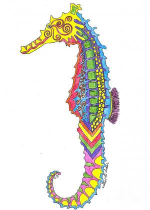 Blue Seahorse Drawing Susan