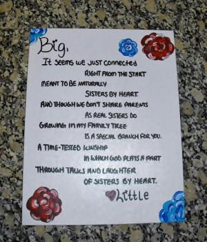 Sisters by Heart Sorority Big/Little Poem Canvas