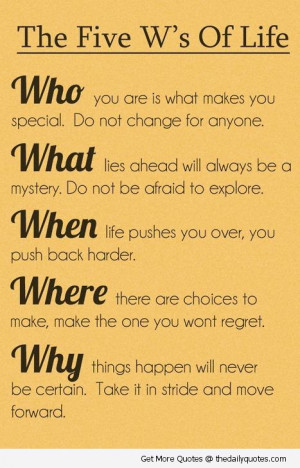 Inspirational 5 w's of life