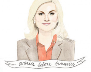 Leslie Knope watercolour portrait PRINT Amy Poehler ''Ovaries before ...