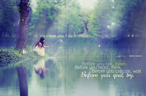 girl, inspiration, keep going, lake, quiting, quote, text, typography ...