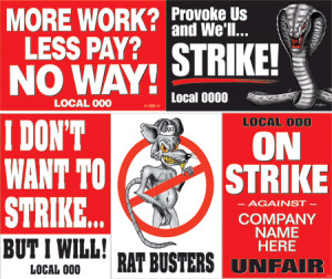 UNION-PRINTED STRIKE SIGNS / PICKET SIGNS