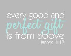 ... Family Typography Wall Art Print, James 1:17 Bible Verse, 8x10 Nursery